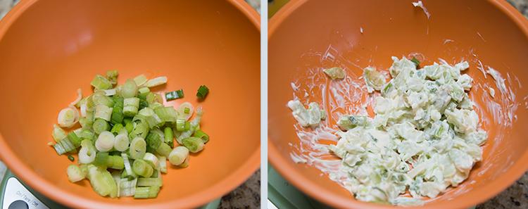 Egg Salad Sandwich: Combining scallions, celery, and mayo