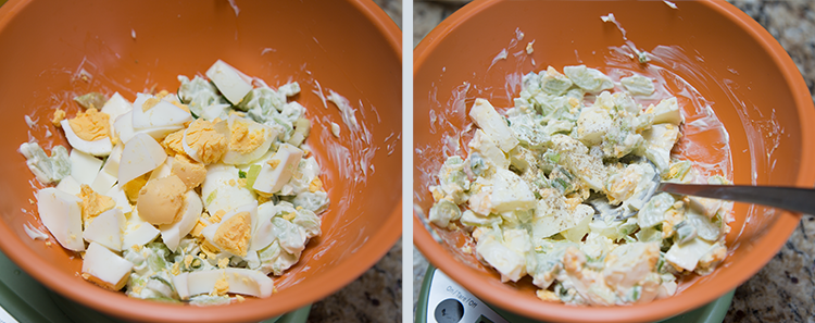 Egg Salad Sandwich: Mixing everything together